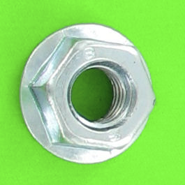 Slotted Flange Nut, White Zinc Steel, DIN 6923