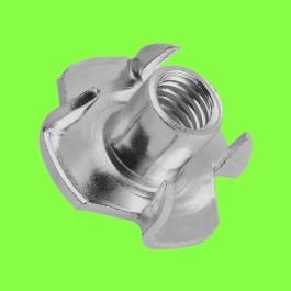 Spiked Threaded Insert, White Zinc Steel