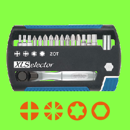XL Selector 25 ZOT torsion bits , 17 pieces with bit ratchet wrench