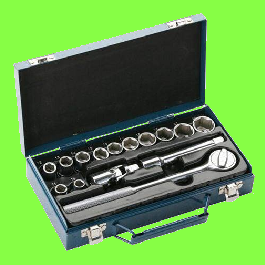 1/2'' Drive metric sockets with ratchet, 15 pieces