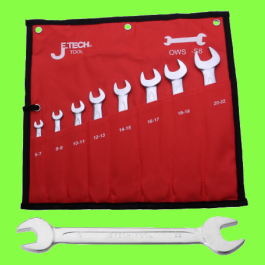 Plated chrome Double ended Fork spanner set , 8 pieces