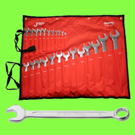Plated Chrome mixed spanners, 24 pieces (5,5 to 32)