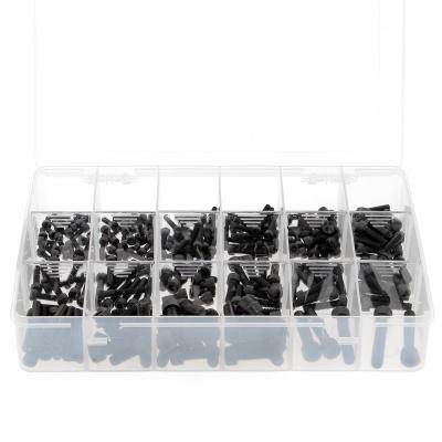 Pack of 255 Assorted Hex Socket Round Head Screws, Black 8.8 Steel, DIN 912
