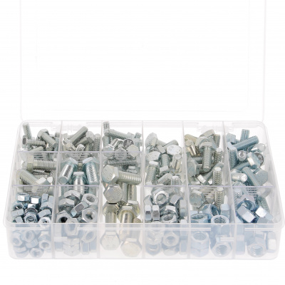 Pack of 292 Hex Head Screws + M8-M10-M12 Nuts, 8.8 White Zinc Steel, DIN 933