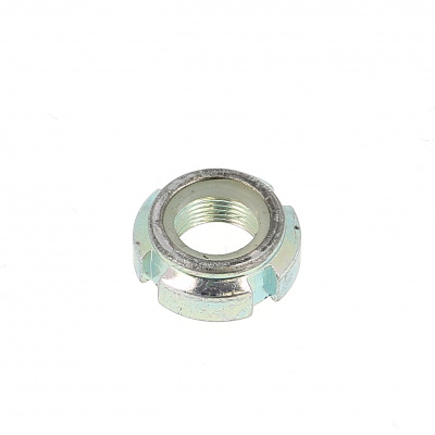 Slotted Nut, Nylon Ring, White Zinc Steel