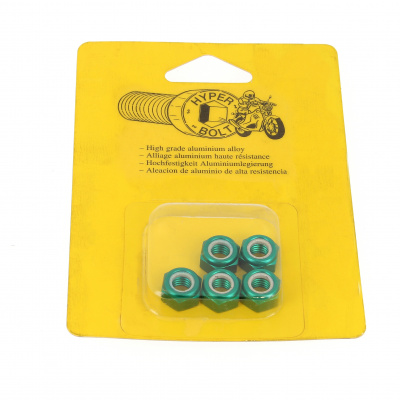Blister pack of 5 Nuts, Nylstop Dural 2030 OA, Green