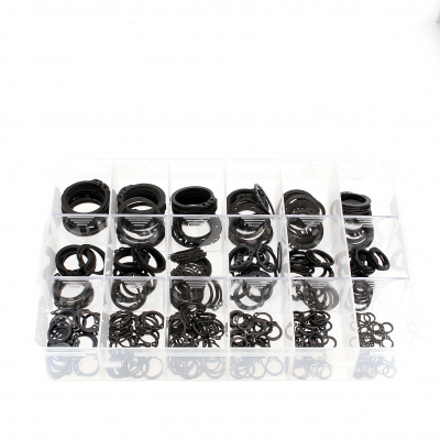 Pack of Assorted External Circlips, Black Steel, DIN 471