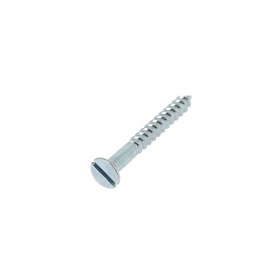 Slotted Countersunk Head Wood Screw, White Zinc Steel, DIN 97