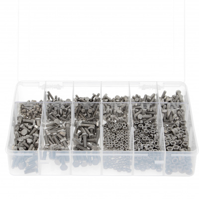 Pack of 800 Hex Head Screws + M4-M5-M6 Nuts, A2 Stainless Steel, Fully Threaded, DIN 933