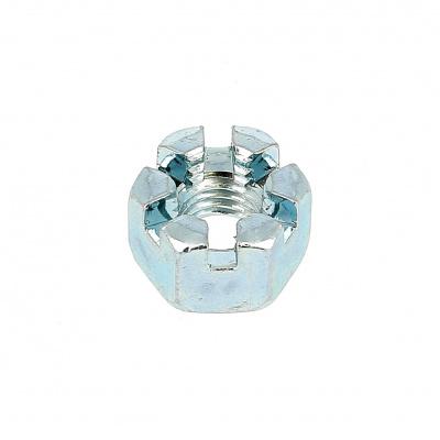 Slotted Nut, White Zinc Steel, DIN 935