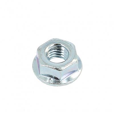 Slotted Flange Nut, White Zinc Steel, DIN 6923