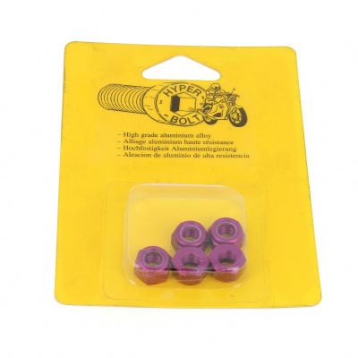 Blister pack of 5 Nuts, Nylstop Dural 2030 OA, Purple