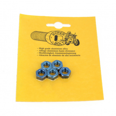 Blister pack of 5 Hex Nuts, P40 OA, Blue