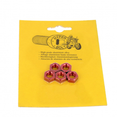 Blister pack of 5 Hex Nuts, P40 OA, Red