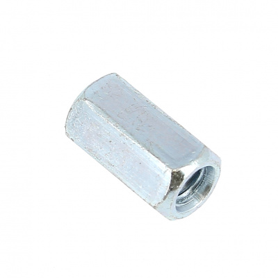 Coupling Nut, 3D, White Zinc Steel DIN 6334