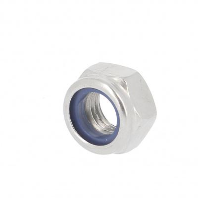 Nylstop Nut, White Zinc Steel, DIN 985