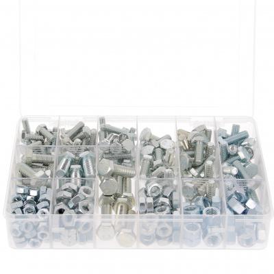 Pack of 800 Hex Head Screws + M4-M5-M6 Nuts, 8.8 White Zinc Steel, DIN 933