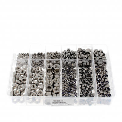 Pack of 825 Hex Nuts + Nylstop A2 Stainless Steel Nuts