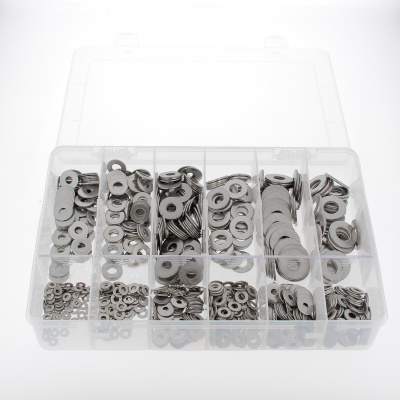Pack of Assorted Flat Washers, M + L, A2 Stainless Steel, NFE 25513