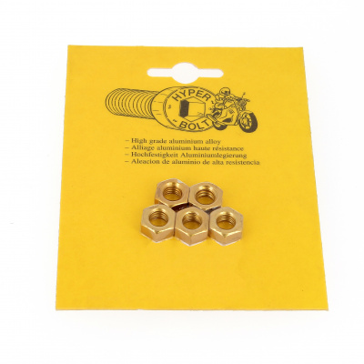Blister pack of 5 Hex Nuts, P40 OA, Gold