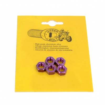 Blister pack of 5 Hex Nuts, P40 OA, Purple