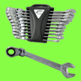 Angled ratchet combination spanners, 10 pieces